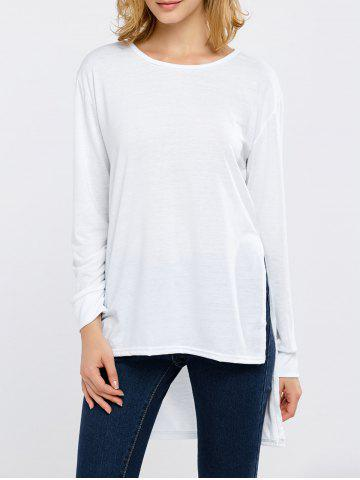 Cheap Side Slit High Low Long Sleeve T-Shirt WHITE XL