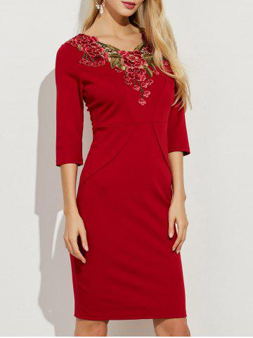 Trendy Floral Embroidery Openwork Sheath Dress