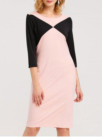 Sale Knee Length Color Block Sheath Dress