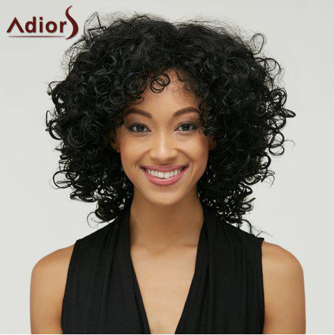 Fancy Adiors Medium Afro Curly Inclined Bang Synthetic Wig