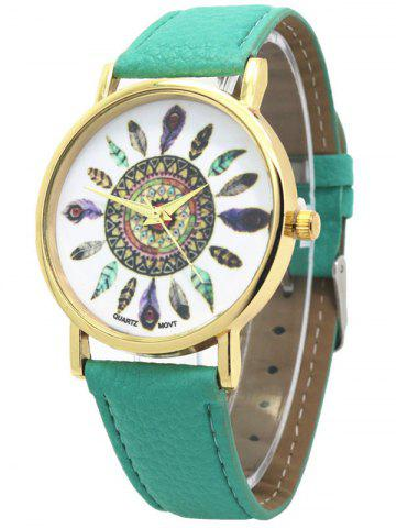 Faux Leather Feather Pattern Quartz Watch - GREEN