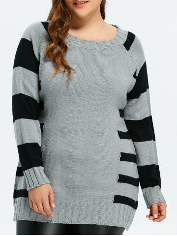 Buy Pullover Striped Crew Neck Sweater LIGHT GRAY ONE SIZE