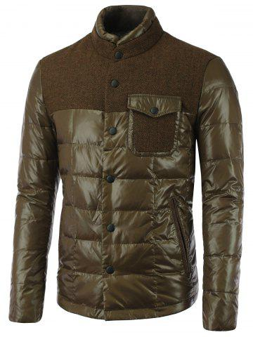 Discount Double Layered Collar Spliced Pocket Quilted Jacket OLIVE GREEN 2XL