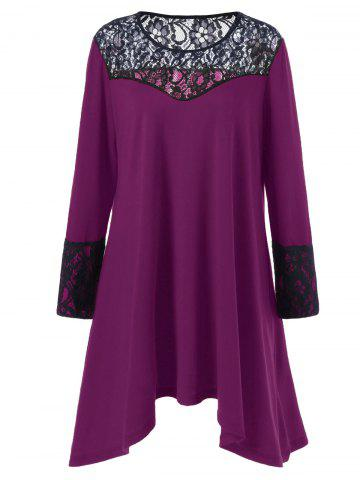Outfits Plus Size Lace Trim Asymmetrical T Shirt Dress VIOLET ROSE 5XL