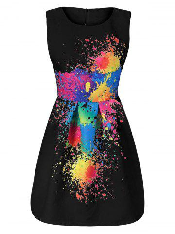 Buy Splatter Print Sleeveless Tulip Dress