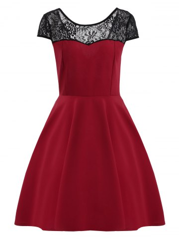 Outfits Short Sleeve Lace Panel Mini Dress - L DEEP RED Mobile