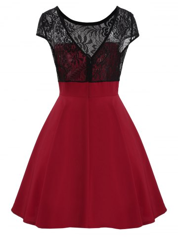 Fancy Short Sleeve Lace Panel Mini Dress - L DEEP RED Mobile