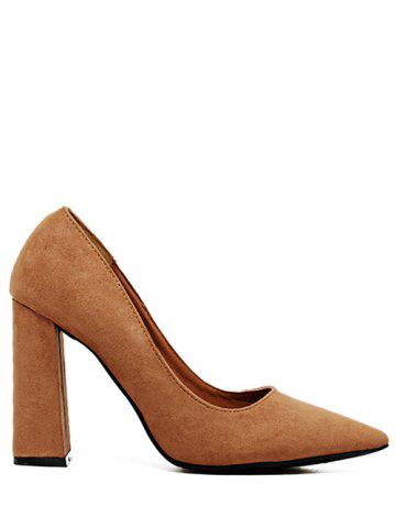 Fancy Chunky Heel Suede Pointed Toe Pumps