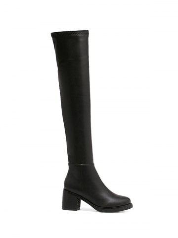 Shop Round Toe Platform Zipper Thigh Boots BLACK 39