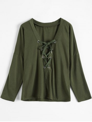 Plunging Neck Lace Up Tee - ARMY GREEN XL