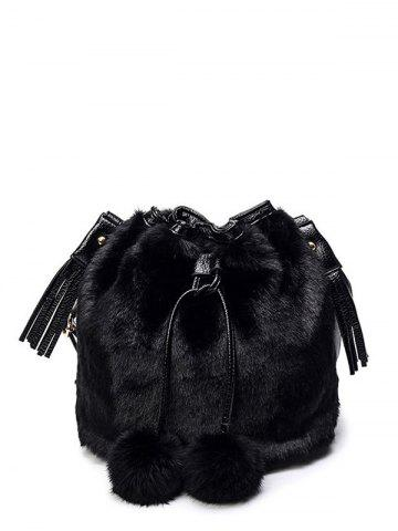 Trendy Furry Pompon Tassel Bucket Bag