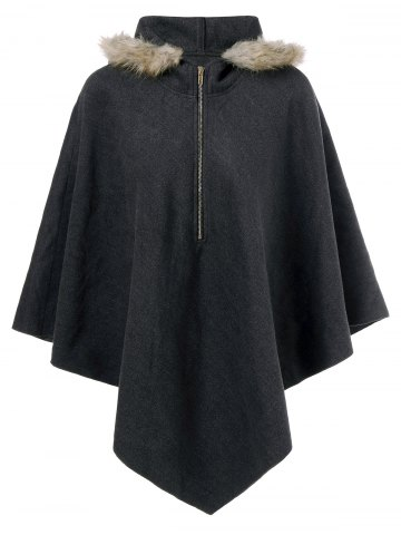 Hooded Cape Coat - Black Grey - Xl