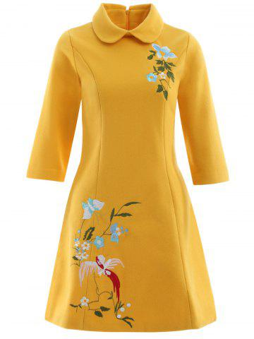 Unique A Line Pocket Bowknot Bird Embroidery Woolen Swing Dress