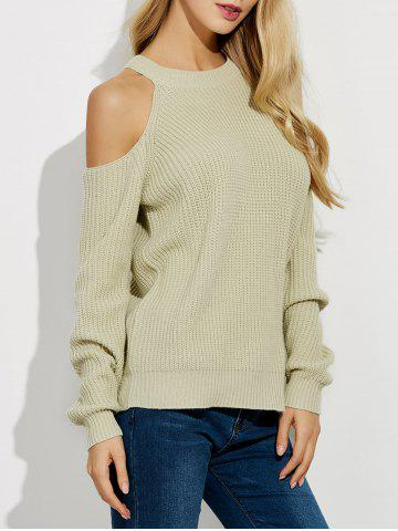 Affordable Cold Shoulder Crew Neck Ribbed Sweater BEIGE 2XL