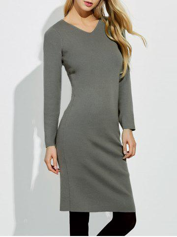 Midi Jumper V Neck Sheath Dress