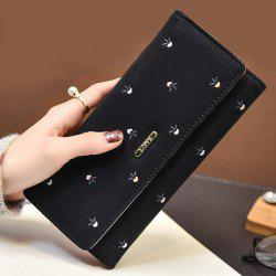 Snap Closure Embroidery Long Wallet