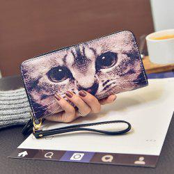 Zip Around Kitten Print Wristlet Wallet