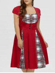 Plus Size Checked Midi Pin Up Dress With Sleeve