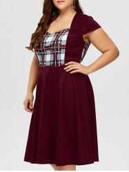 Sweetheart Neck Checked Plus Size Pin Up Dress