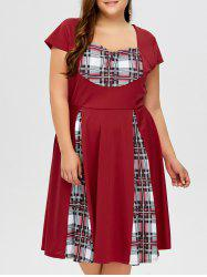 Plus Size Sweetheart Neck Checked Pin Up Dress
