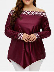 Plus Size Off The Shoulder Geometric Asymmetric Tee -