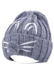 Pom Ball Cat Face Beanie Hat