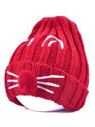 Pom Ball Cat Face Beanie Hat -