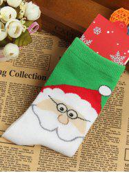 Pair of Knitted Santa Clau Jacquard Socks - WHITE