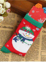 Pair of Knitted Snowmen Christmas Jacquard Socks - RED