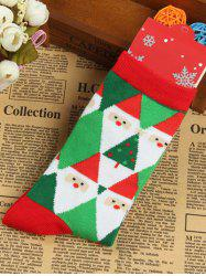Pair of Knitted Diamond Christmas Jacquard Socks