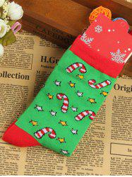 Pair of Knitted Christmas Jacquard Color Block Socks -