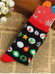 Pair of Knitted Round Jacquard Christmas Socks - BLACK