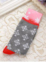 Pair of Knitted Snowflakes Jacquard Christmas Socks -