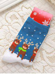 Pair of Knitted Deer Jacquard Color Block Christmas Socks - BLUE