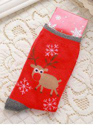 Pair of Knitted Deer Jacquard Snowflakes Christmas Socks - RED