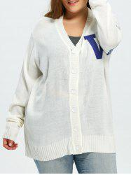 Plus Size Stripes V Pattern Long Sleeve Cardigan - WHITE