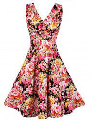V Neck Floral Pattern Vintage Dress