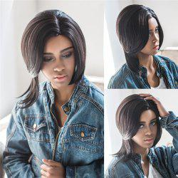 Unprocessed Natural Straight Medium Side Parting Synthetic Wig - BLACK