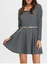 Stripe Fit and Flare Mini Skater Dress with Long Sleeve