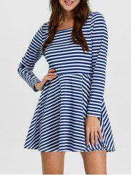 Stripe Mini  Fit and  Flare Skater Dress with Sleeves
