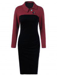Side Collar Long Sleeve Sheath Dress - RED WITH BLACK M