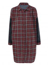 Denim Trim Plaid Shift Dress -