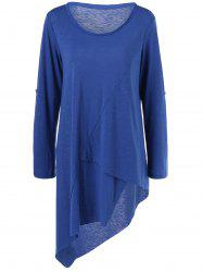 Plus Size Adjustable Sleeve Asymmetrical T-Shirt - BLUE 5XL