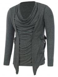 Draped Neckline Pocket Faux Twinset T-Shirt - DEEP GRAY