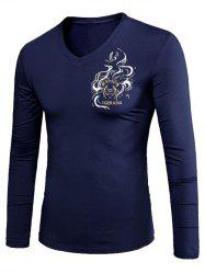 Animal Print Long Sleeve V Neck T-Shirt