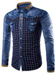 Pocket Grid Denim Insert Shirt