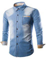 Plaid Insert Breast Pocket Button Up Denim Shirt