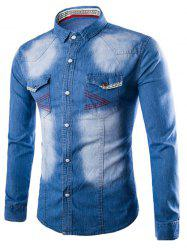 Chevron Stitch Pocket Button Up Denim Shirt