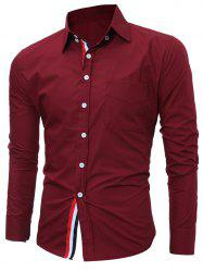 Striped Long Sleeves Button Down Shirt - BURGUNDY 3XL