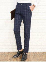 Zipper Fly Straight Leg Plaid Dress Pants -